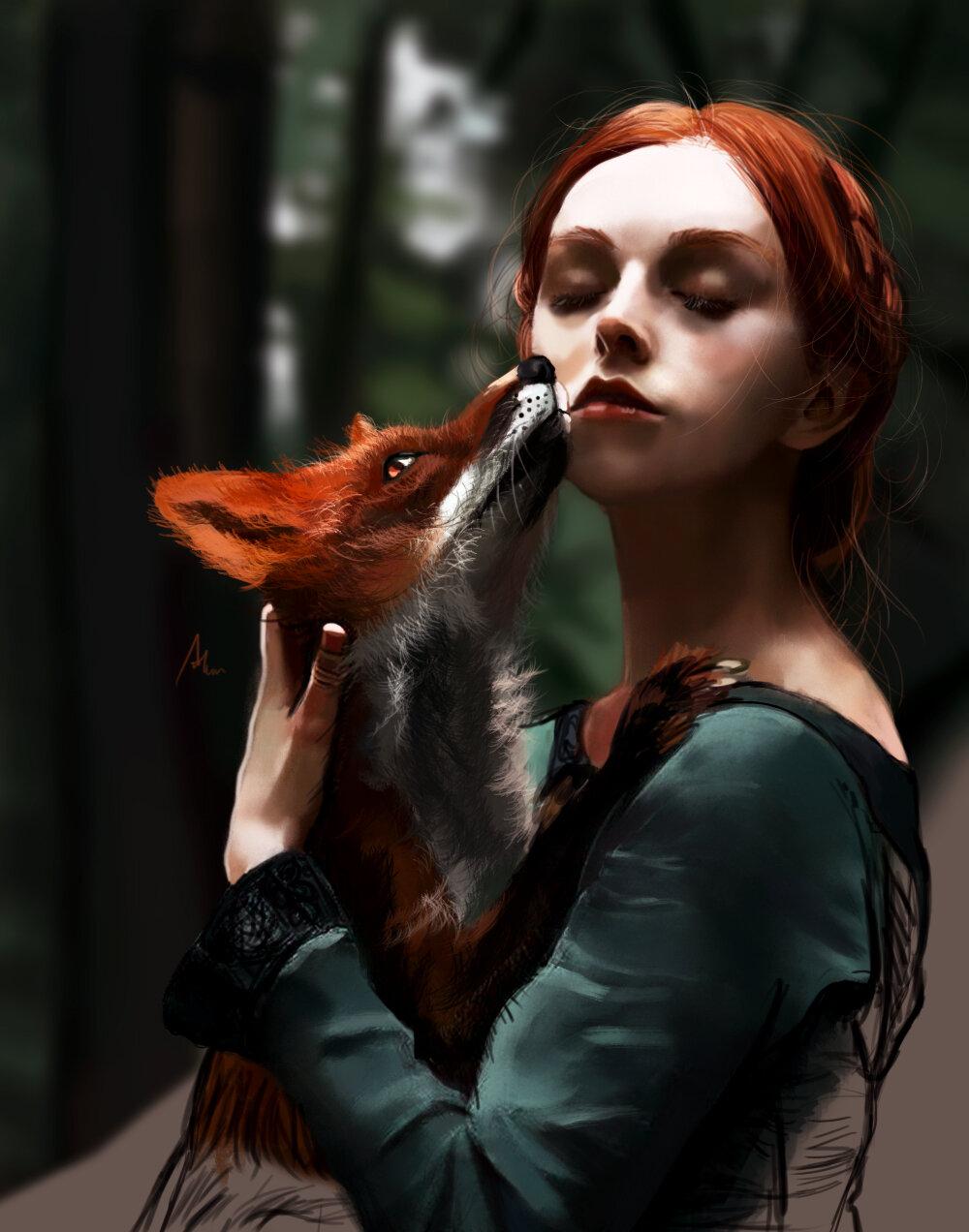 Картинки девушка с лисой