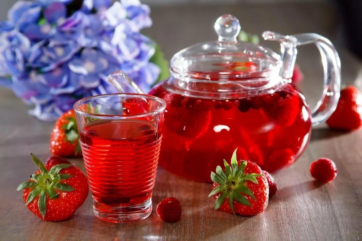 Чай с малиной в картинках