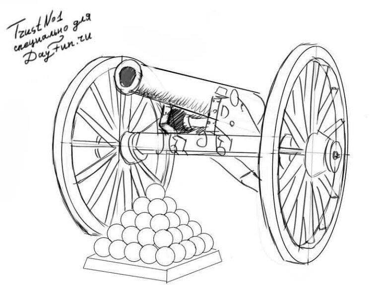 Картинки для срисовки пушки
