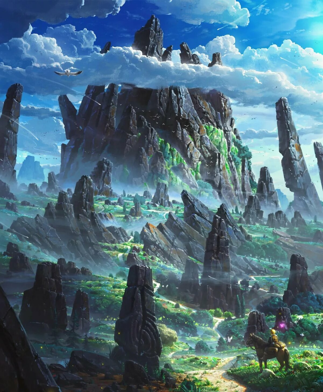 парит небе, картинки фэнтези красивые миры вариант