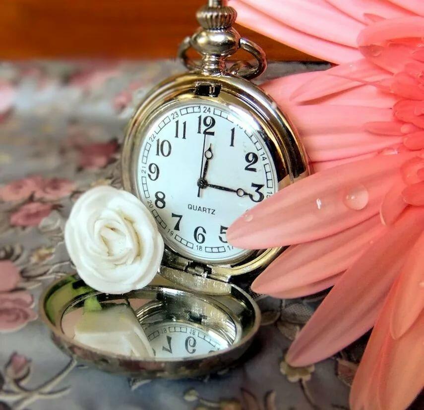 Картинка часы цветы