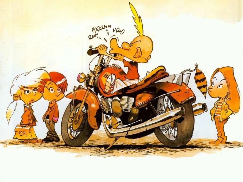 Смешные рисунки с мотоциклом