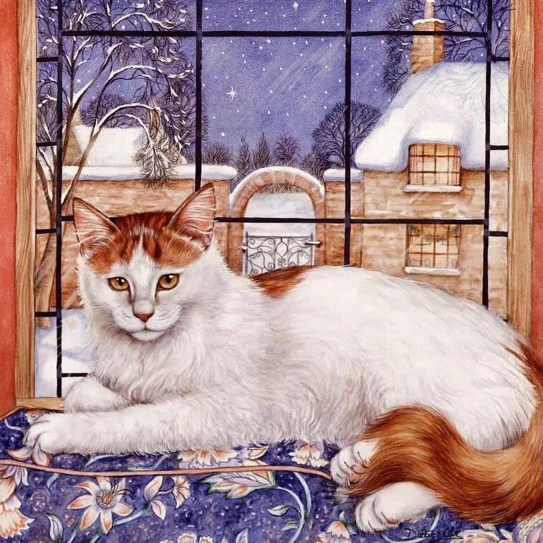 Белая поздравительная, нарисованные открытки с кошками