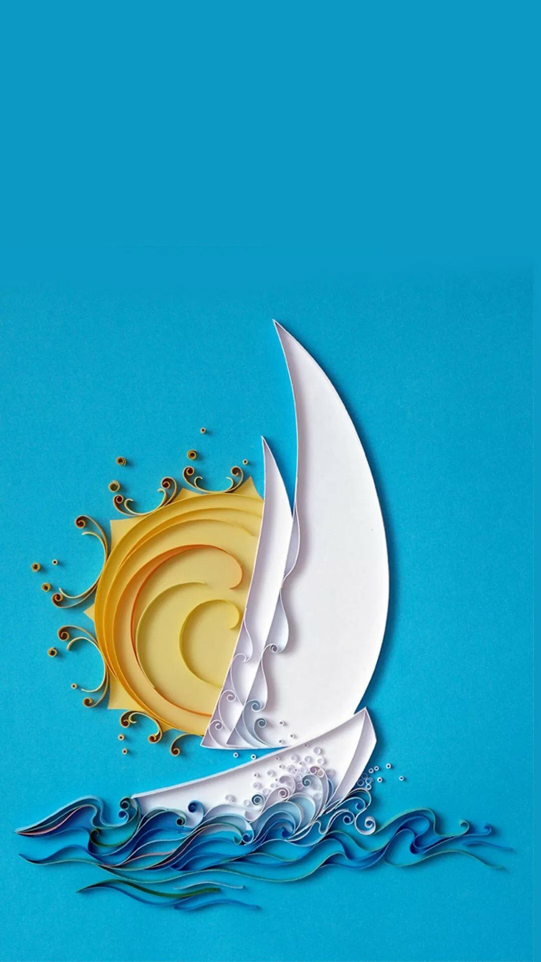Квиллинг кораблик открытка