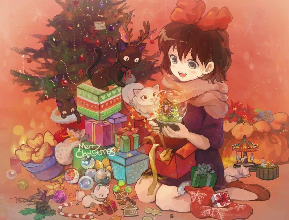 Поздравление юбилеем, аниме открытки рождество