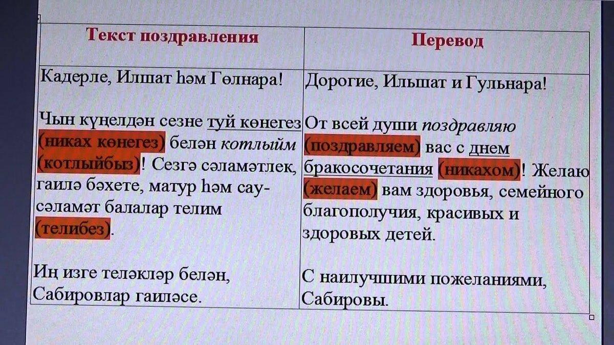 Поздравления с днем свадьбы своими словами по-татарски