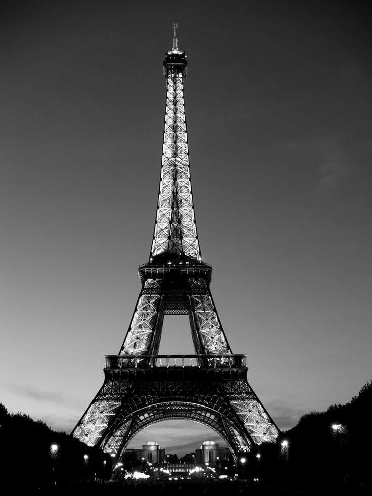 Эйфелева башня картинки черно-белые, дня
