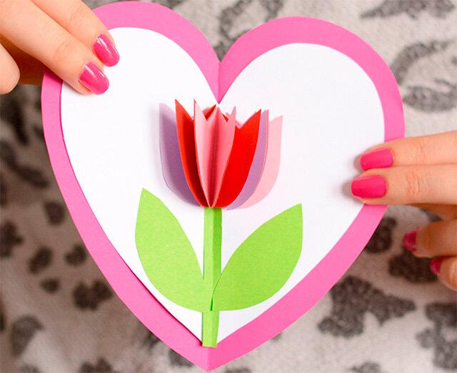 Лебедь бумаги, открытки для мамы с сердечками