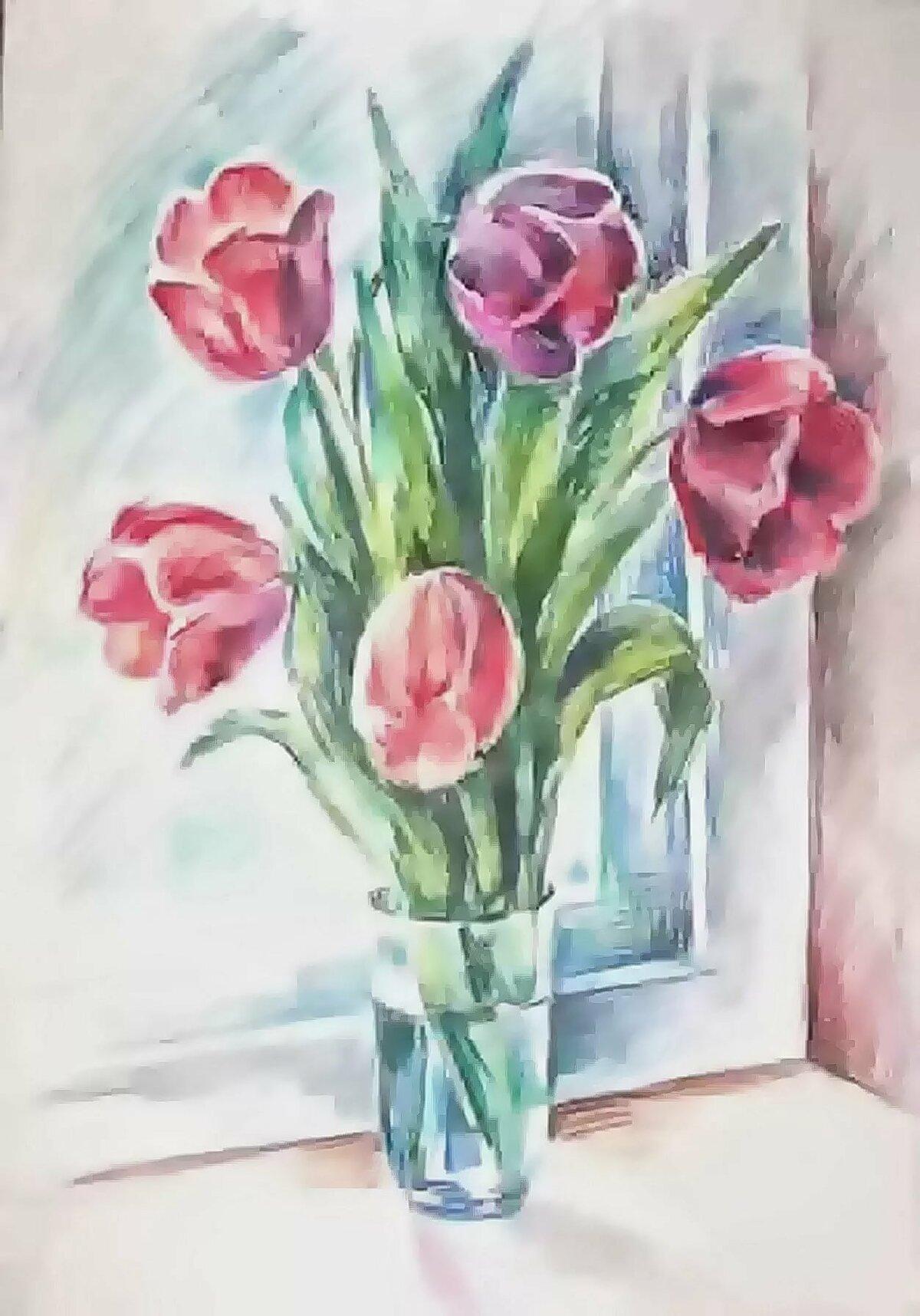 Картинки цветов к 8 марта нарисованные