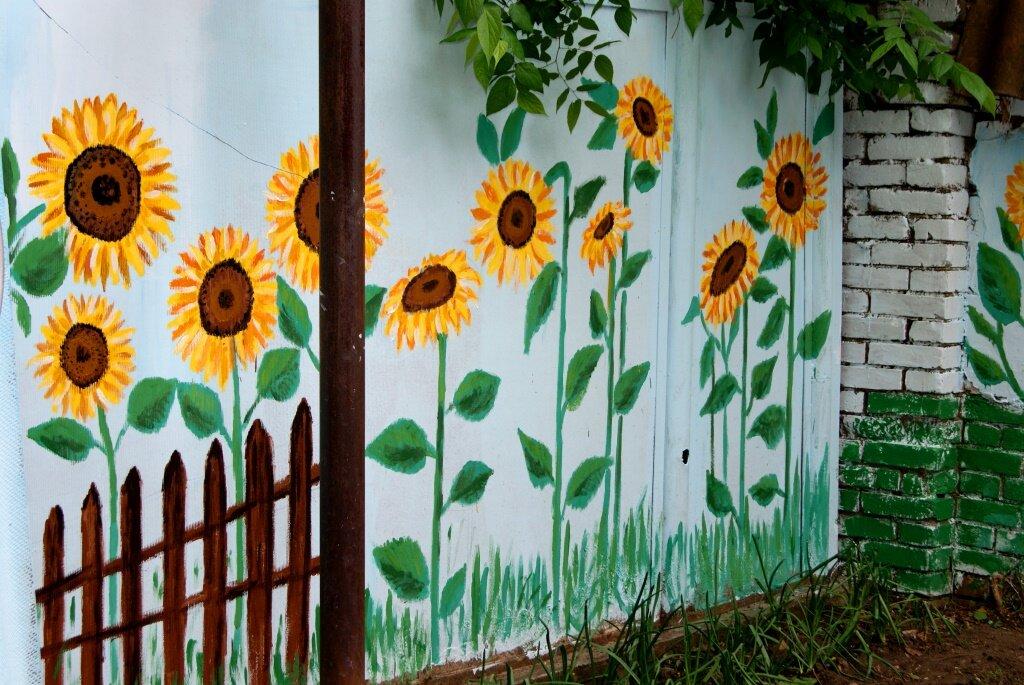 оснащен рисунки на заборе на даче своими руками фото простые покрытие пола