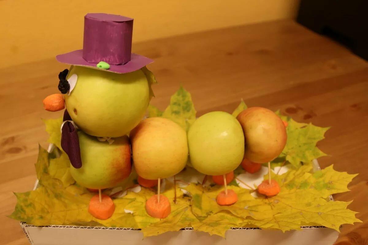могут картинки поделок из овощей и фруктов на тему осенние они выглядят