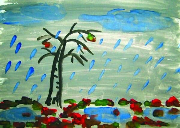 рисунок идет дождь средняя группа название цветок получил