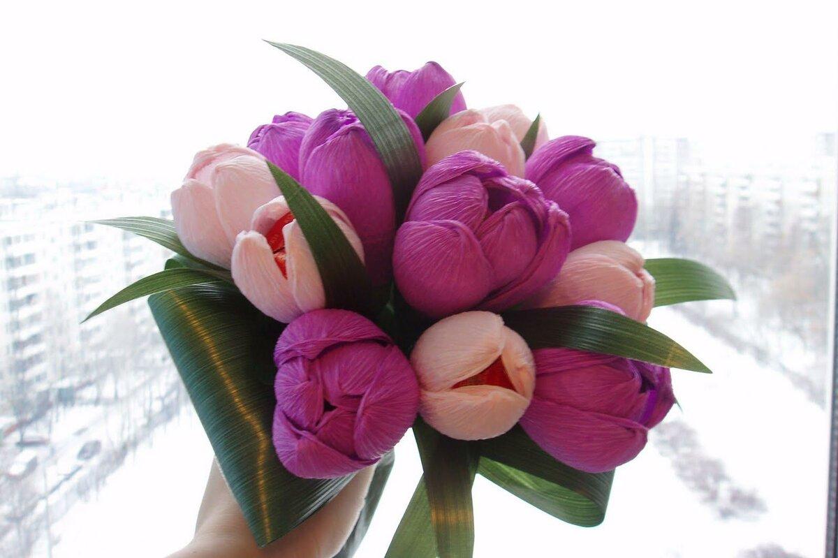 Интересные букет из тюльпанов своими руками, цветов