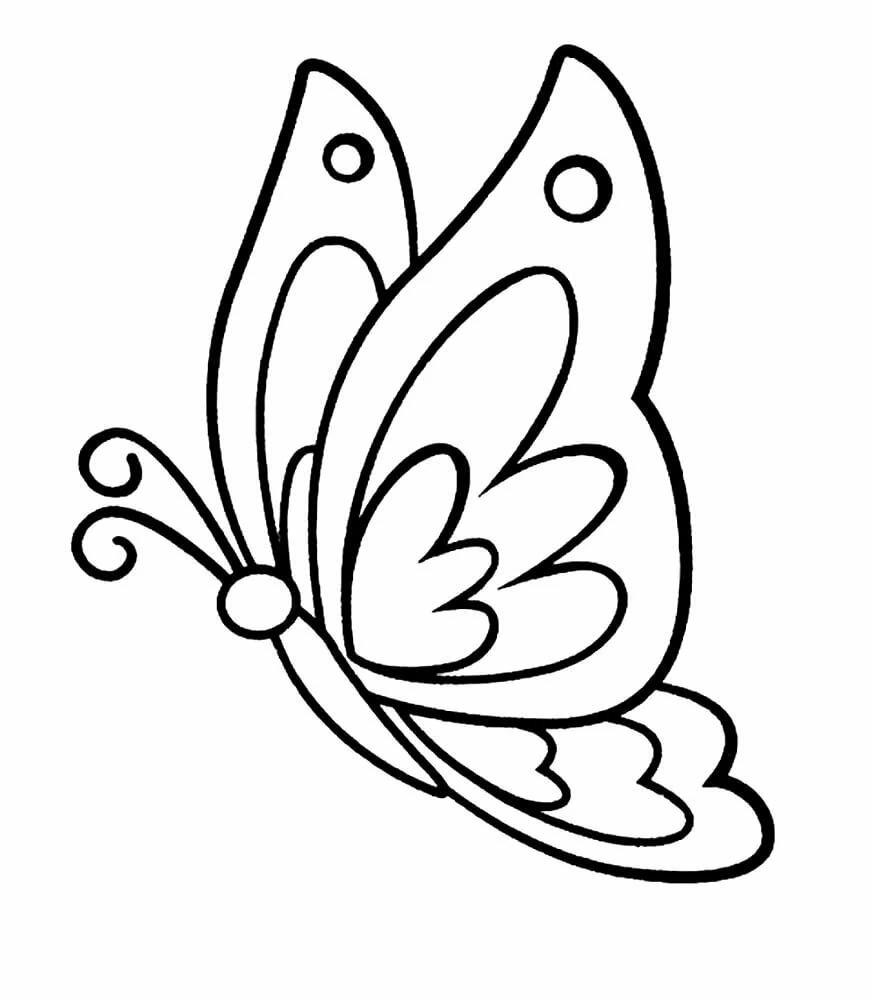 Картинки бабочки разукрасить