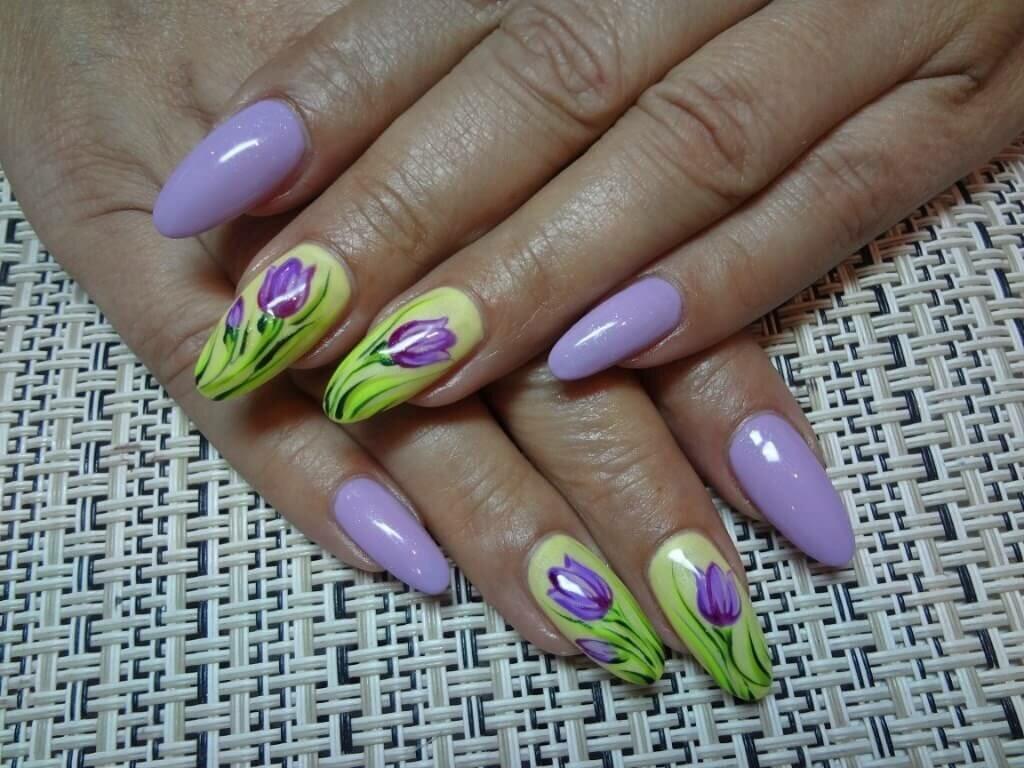 Дизайн ногтей с тюльпанами фото это