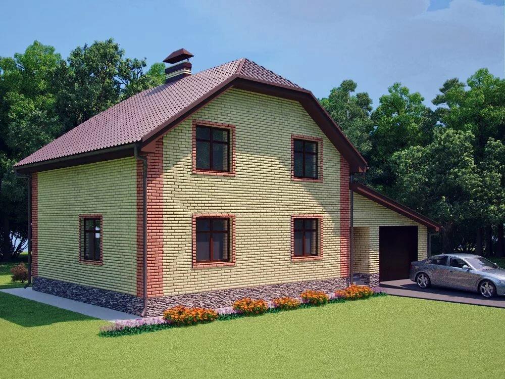 проект дома в полтора этажа из пеноблоков