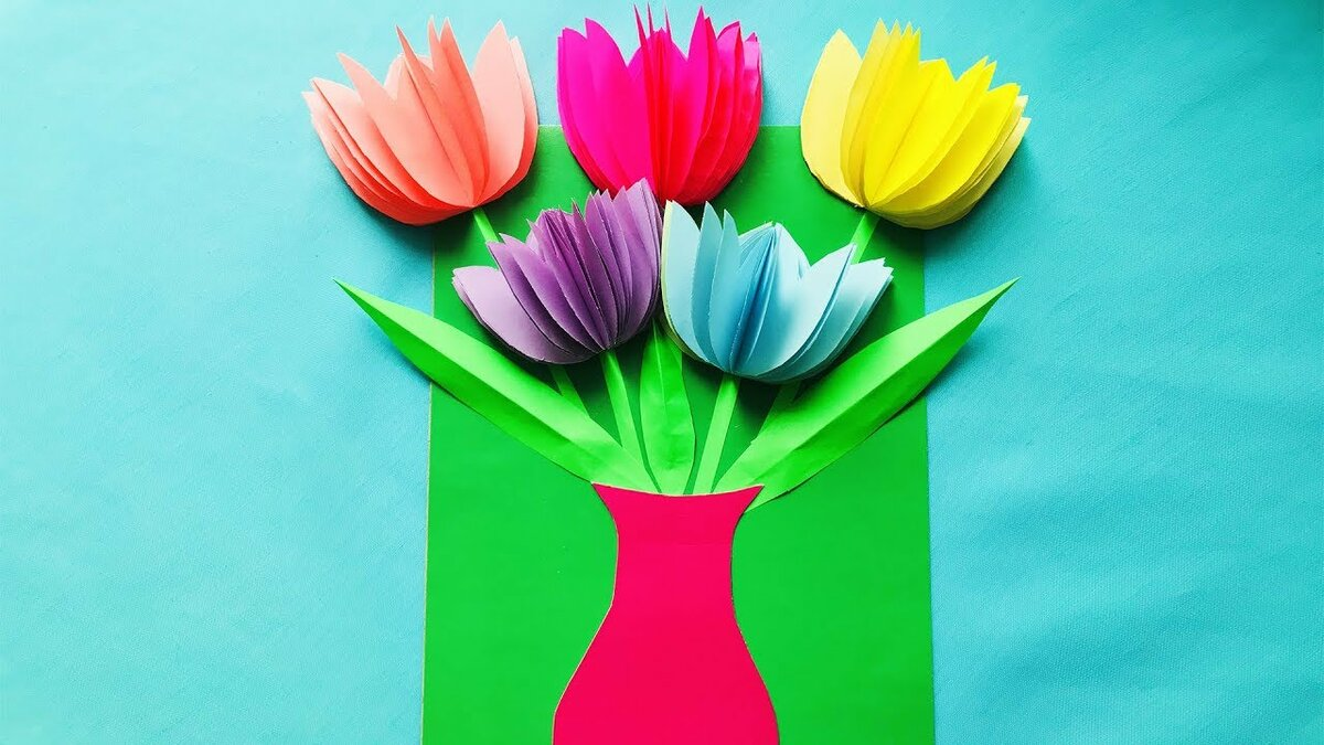 определиться открытка с вазой и цветами из бумаги своими руками как тревожный кекс