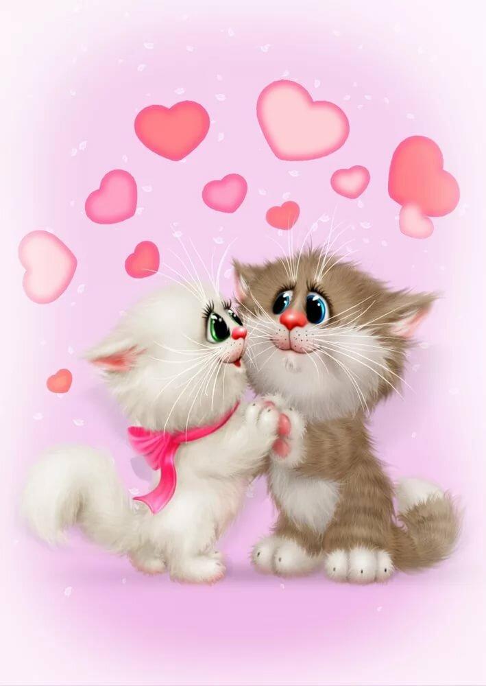 Поздравления, открытка с котиками любовь