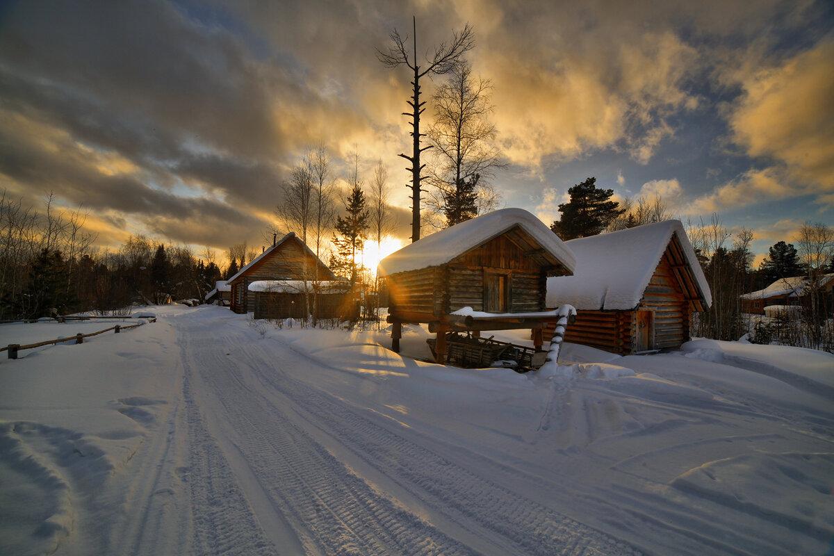 зимний пейзаж в деревне фото для