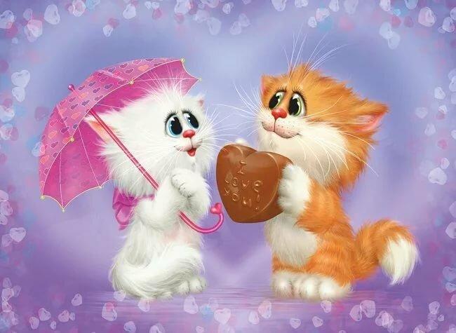 Открытка с котиками любовь