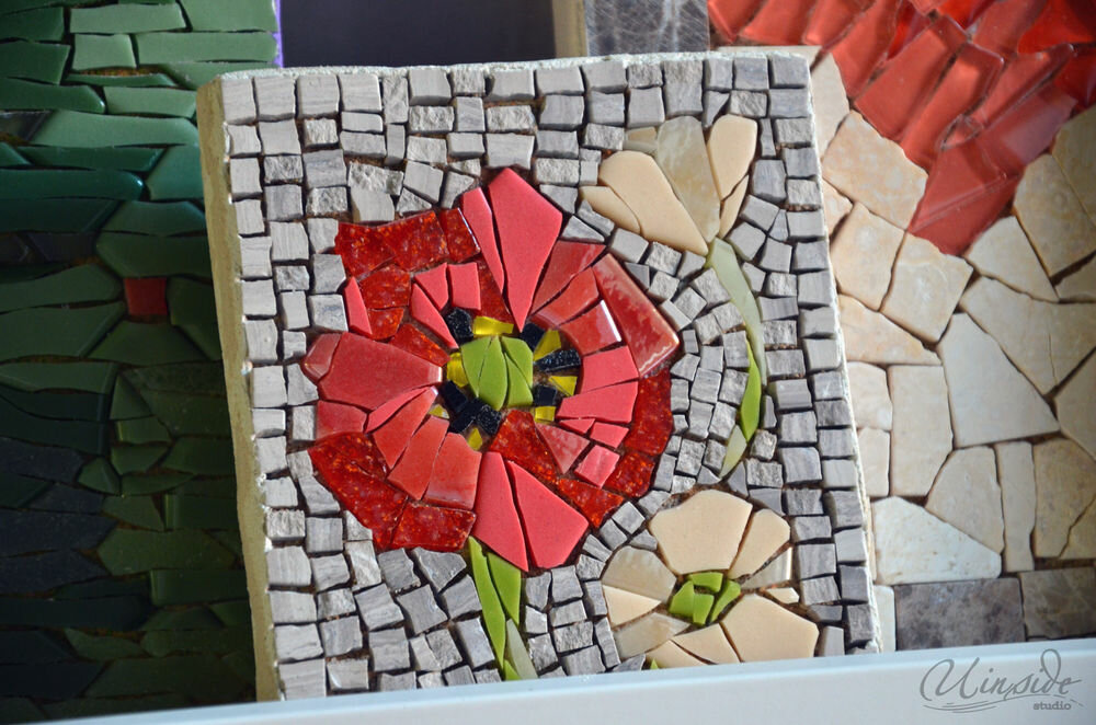 мозаика из битой плитки в ванной