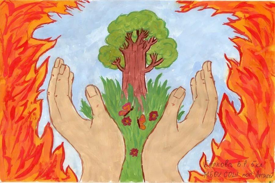 Рисунки карандашом, картинки на тему пожарной безопасности в лесу