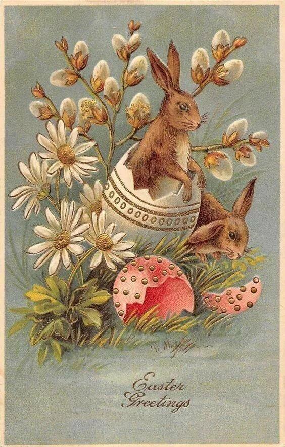 Открыток стиле, старинные пасхальные открытки великобритании