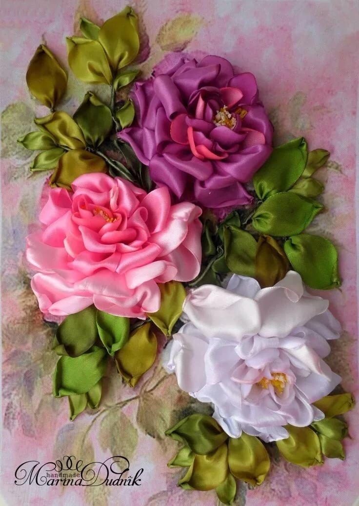 Цветы атласными лентами картинки