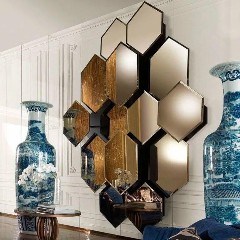 Декор стен зеркалами фото