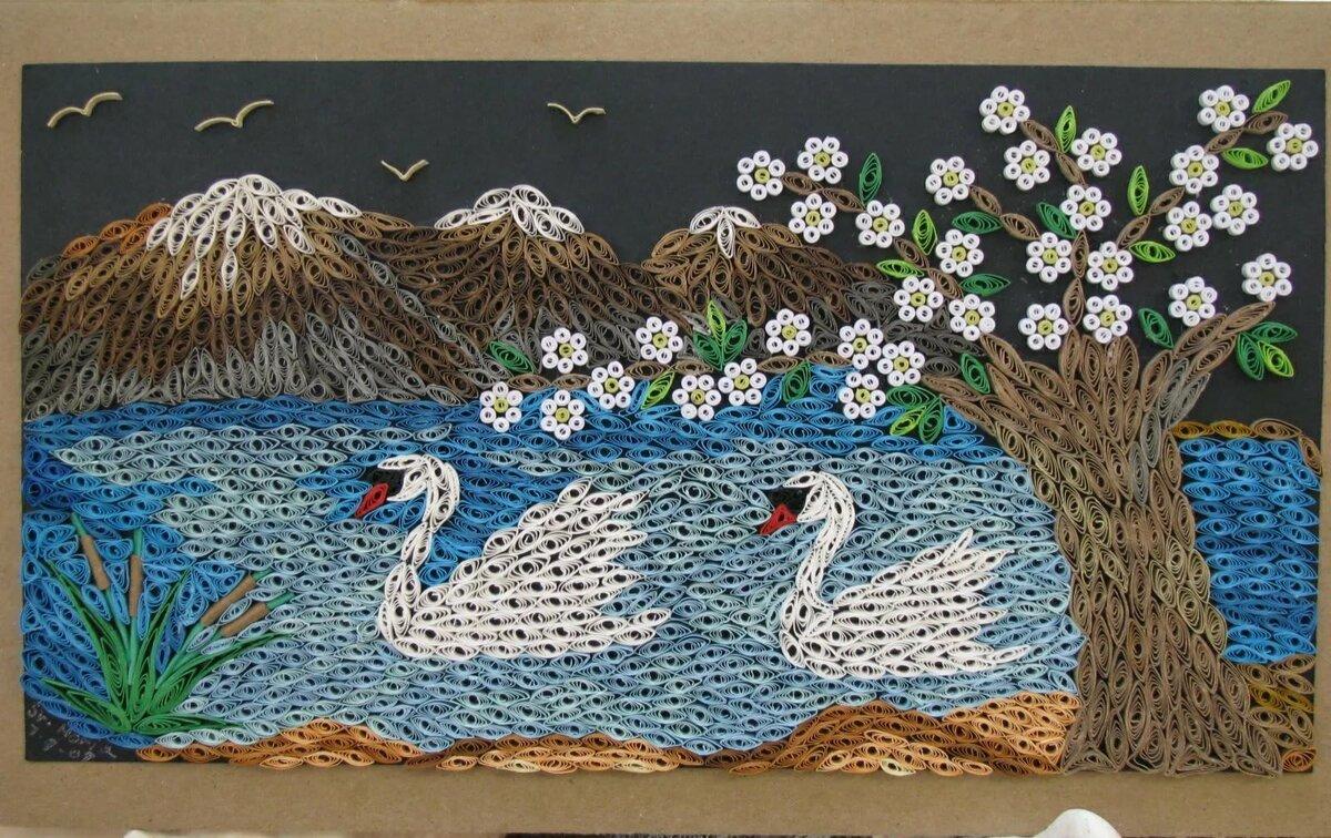 открытки с лебедями квиллинг админы