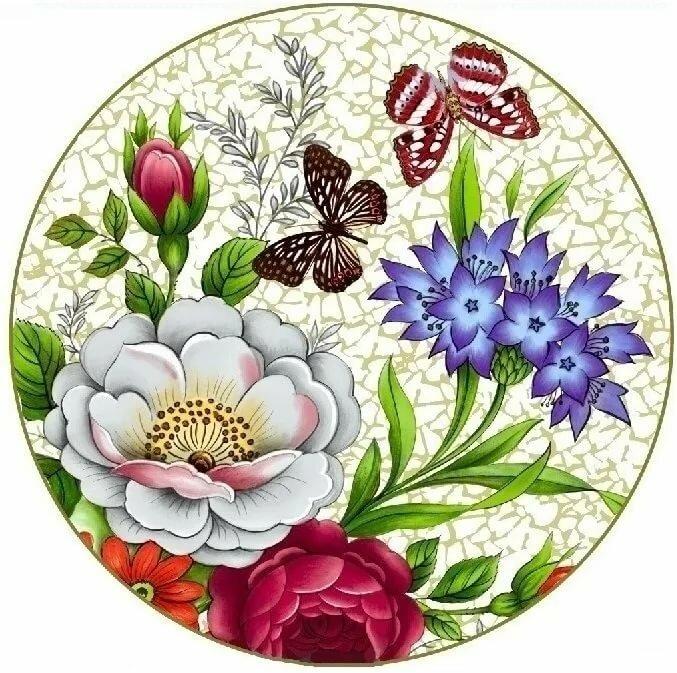 Открытки, круглые картинки с цветами
