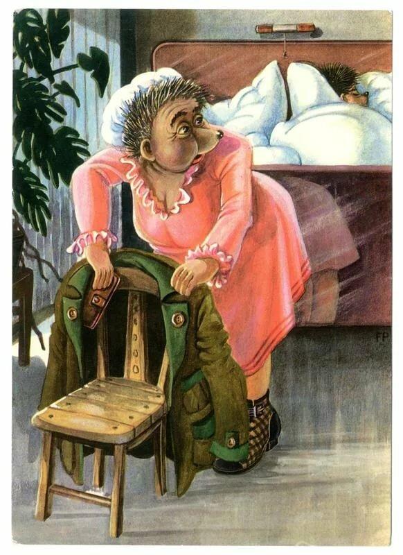 Первой, германские открытки ежики