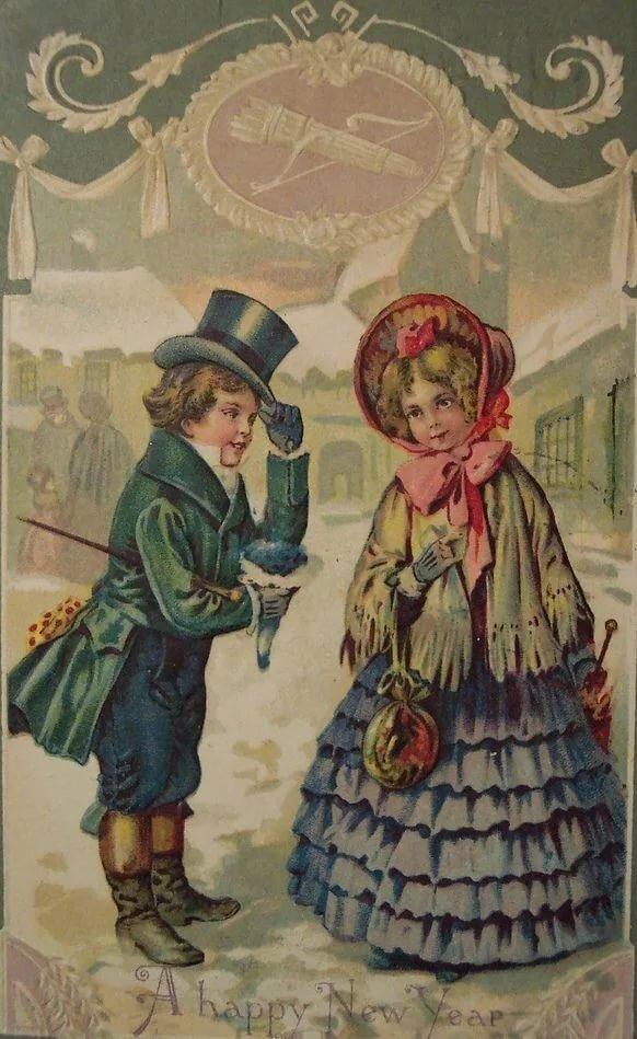 Открытки 18-19 века на новый год