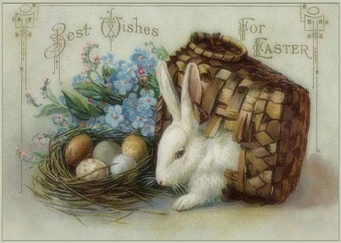 Розы, пасхальные ретро открытки с кроликами