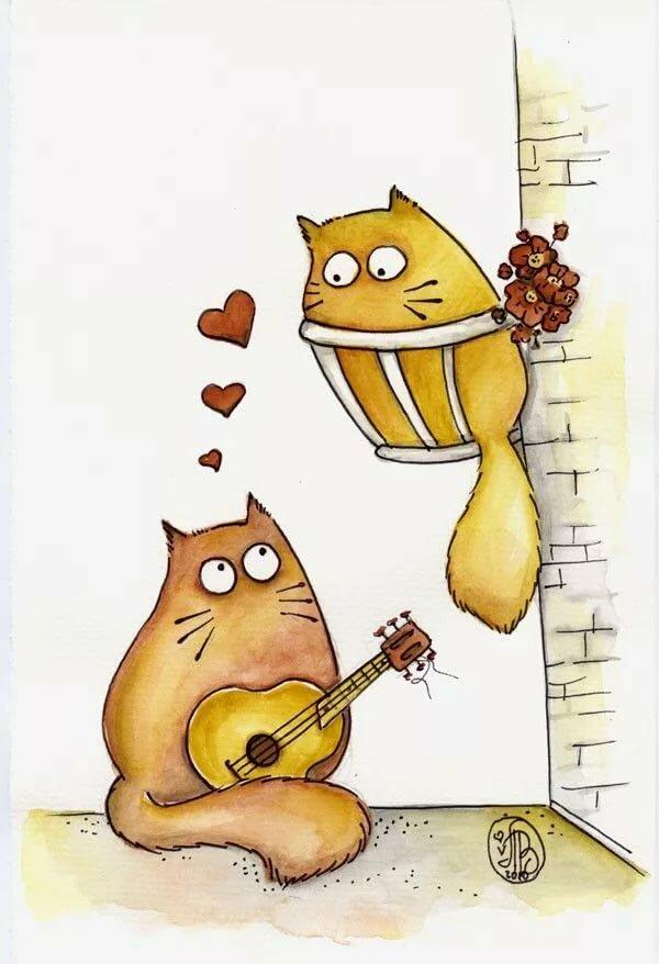 Рисунки смешных котов, винтаж мужчине