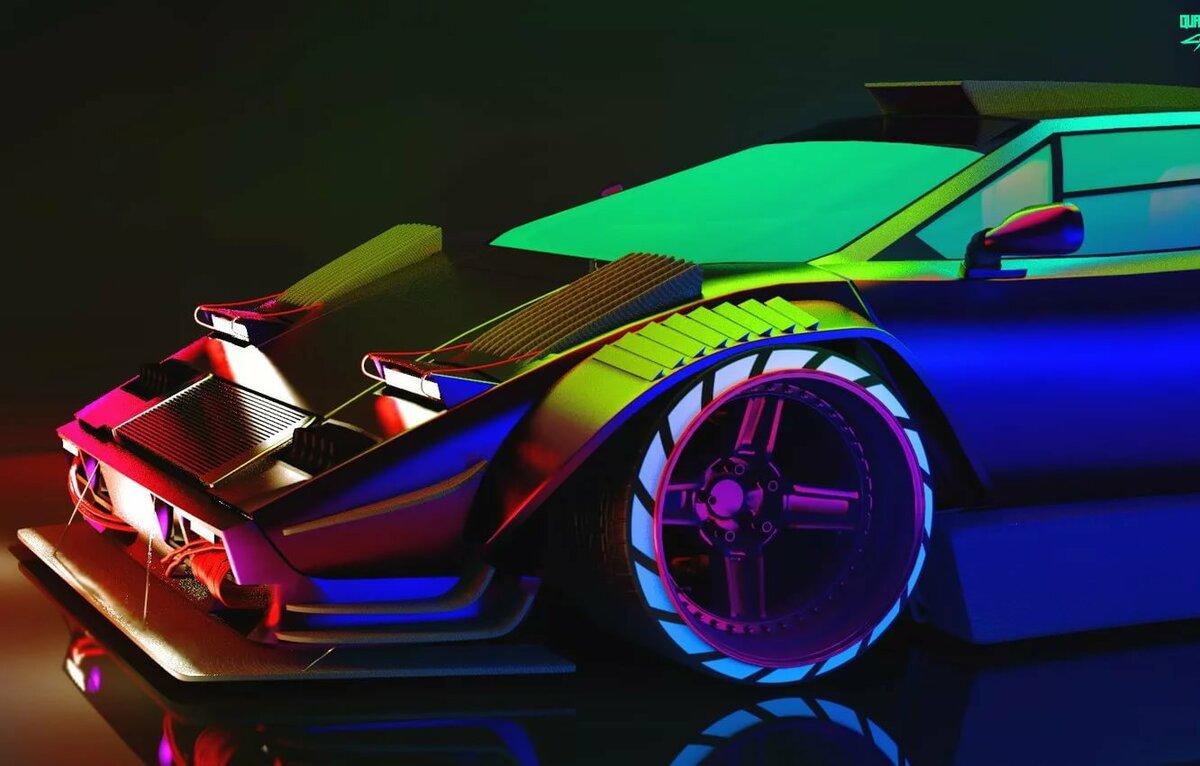 Oboi Avto Lamborghini Neon Mashina Hameleon Car Art Neon