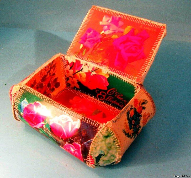веранды шкатулка из открыток детали сделать новогодний сувенир