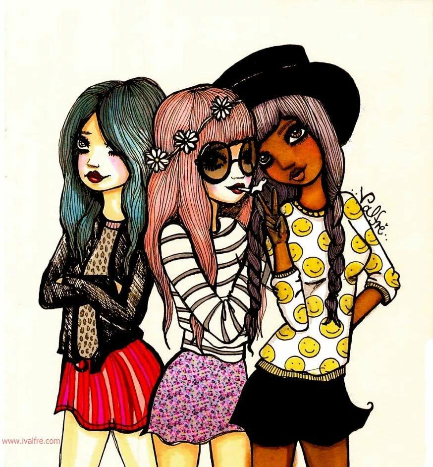 Картинки три девочки мультяшные