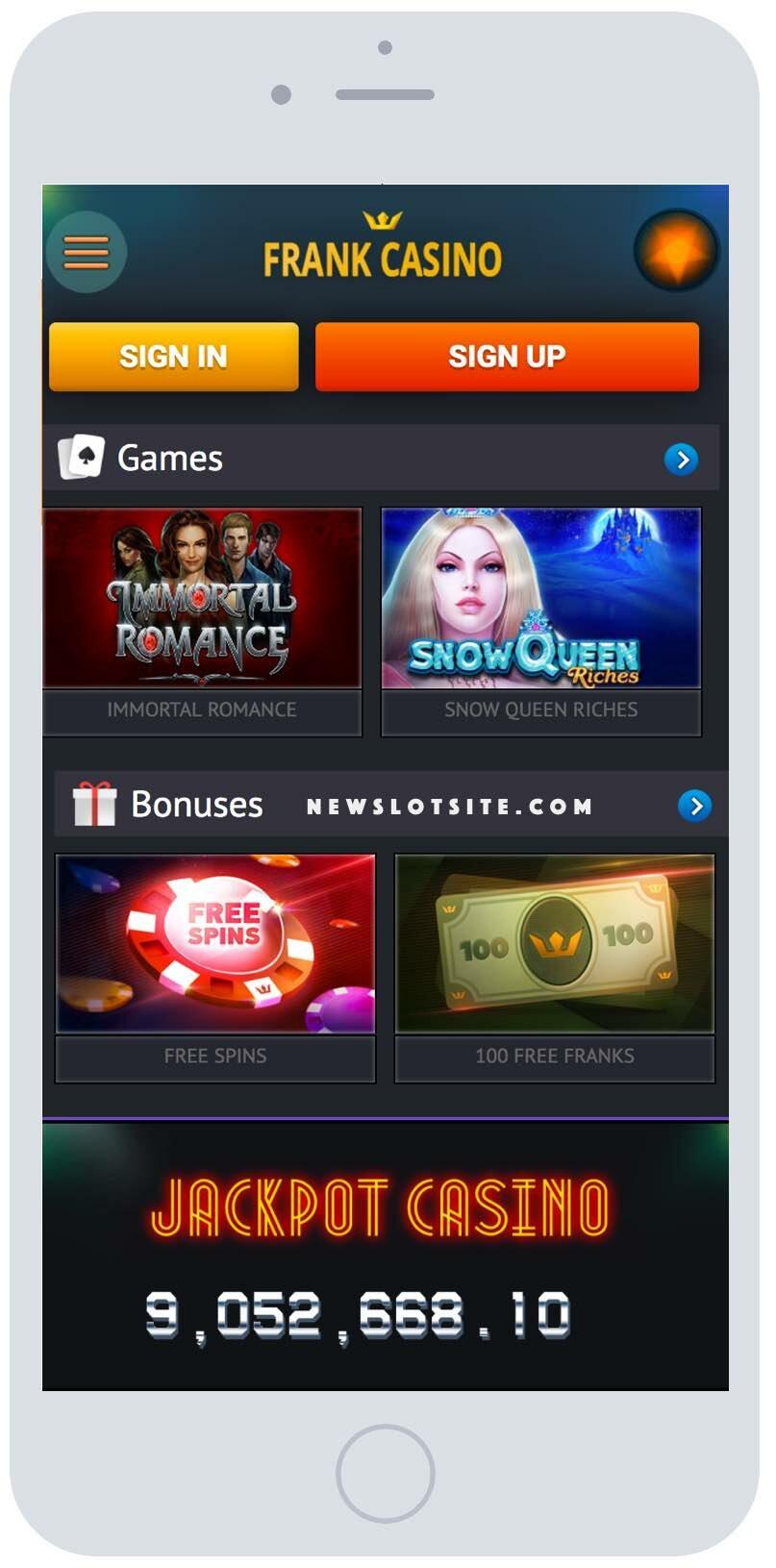 официальный сайт франк казино мобильная