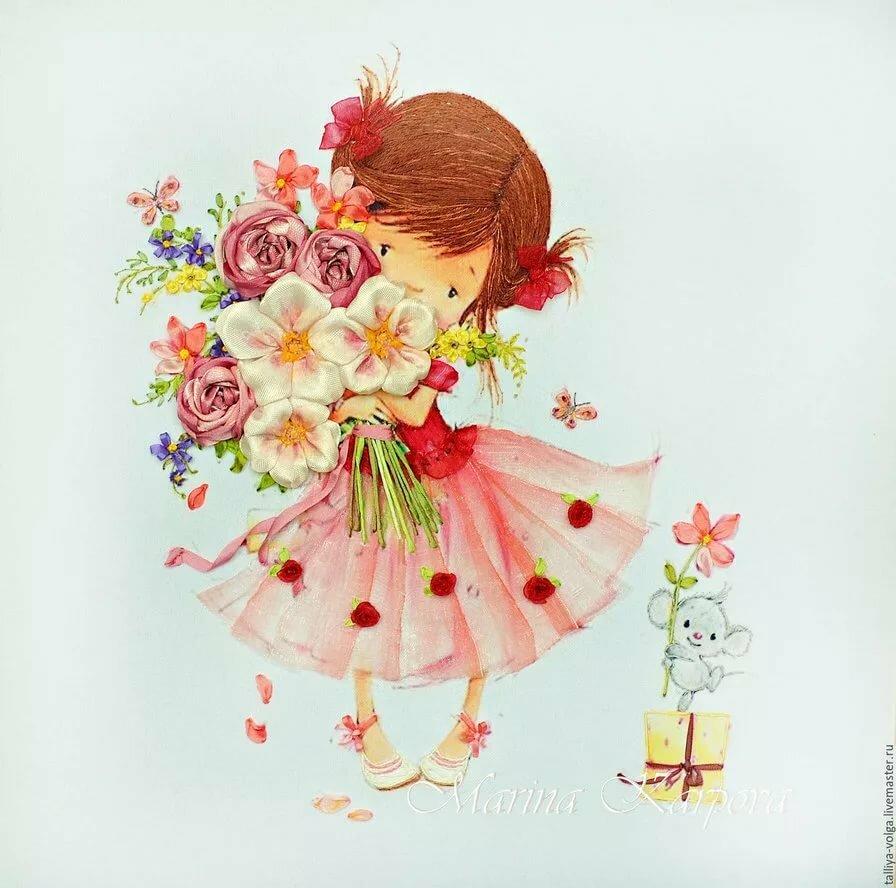 Открытки девочка с цветком