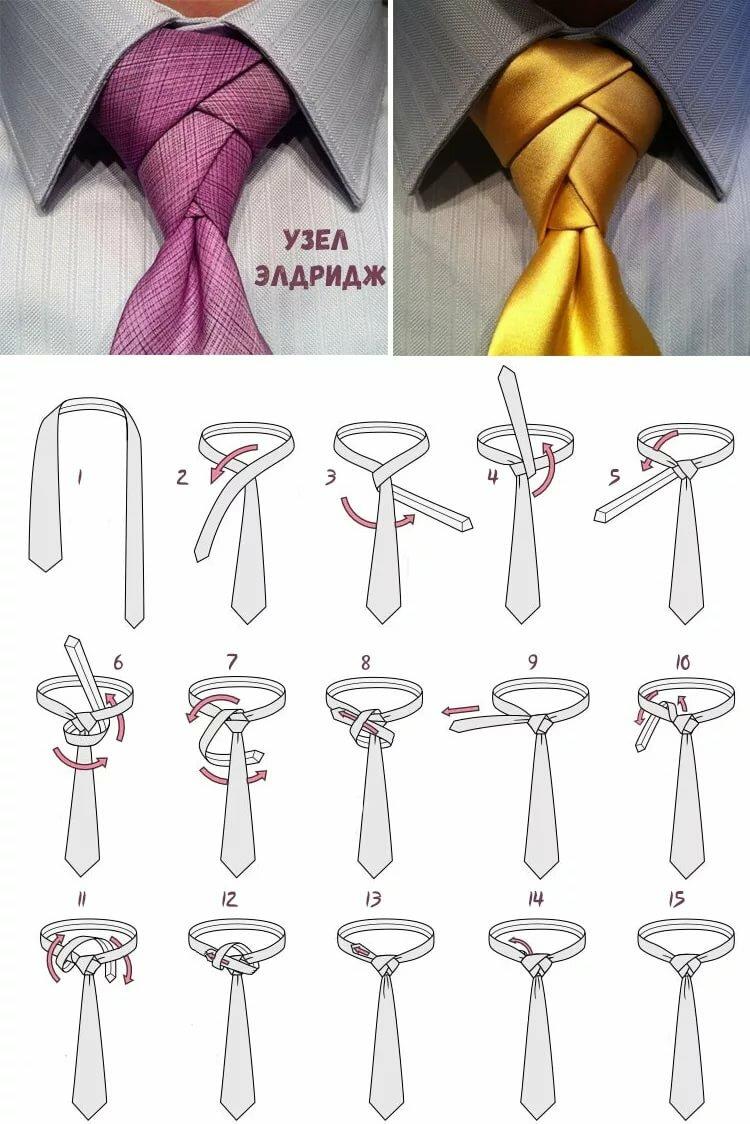 Завязать галстук в картинках подробно