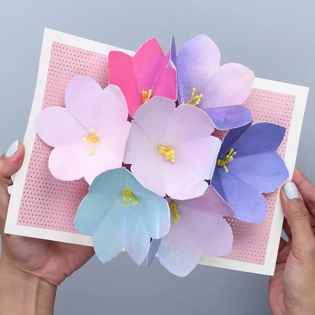 Открытки, как сделать цветок открытка из бумаги 3д