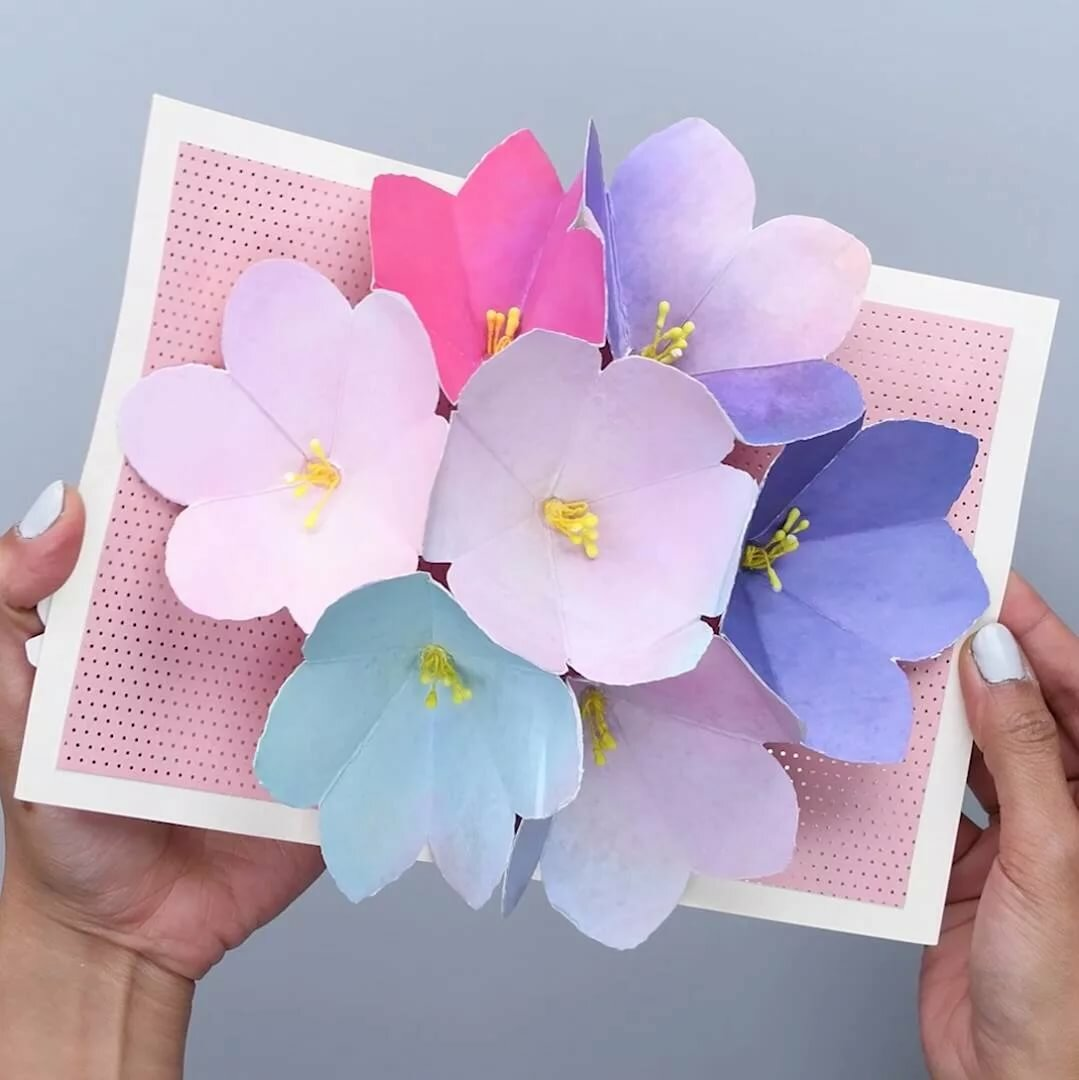 Марта электронные, как сделать триде открытку с цветами