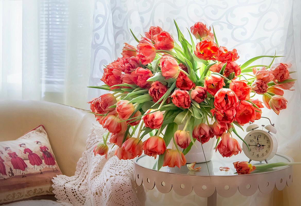 Доброе утро цветы букет роз живых открытки
