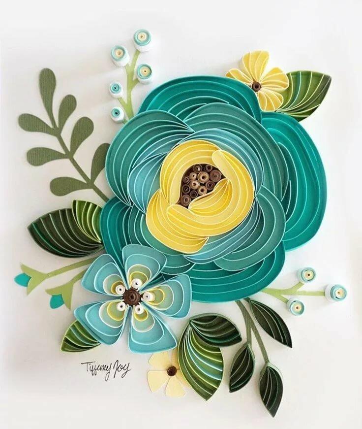 Открытка цветок из полосок