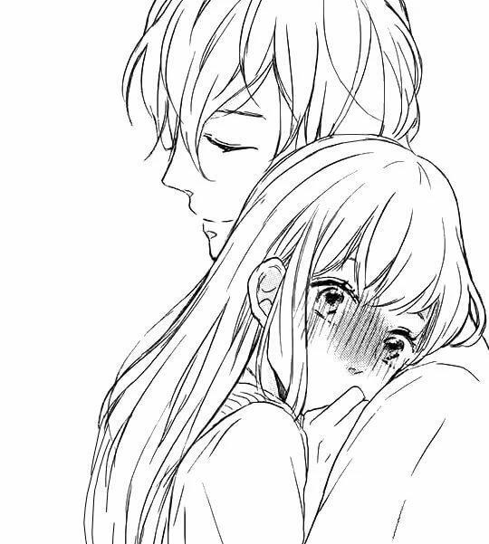 Картинки раскраски парня и девушки аниме