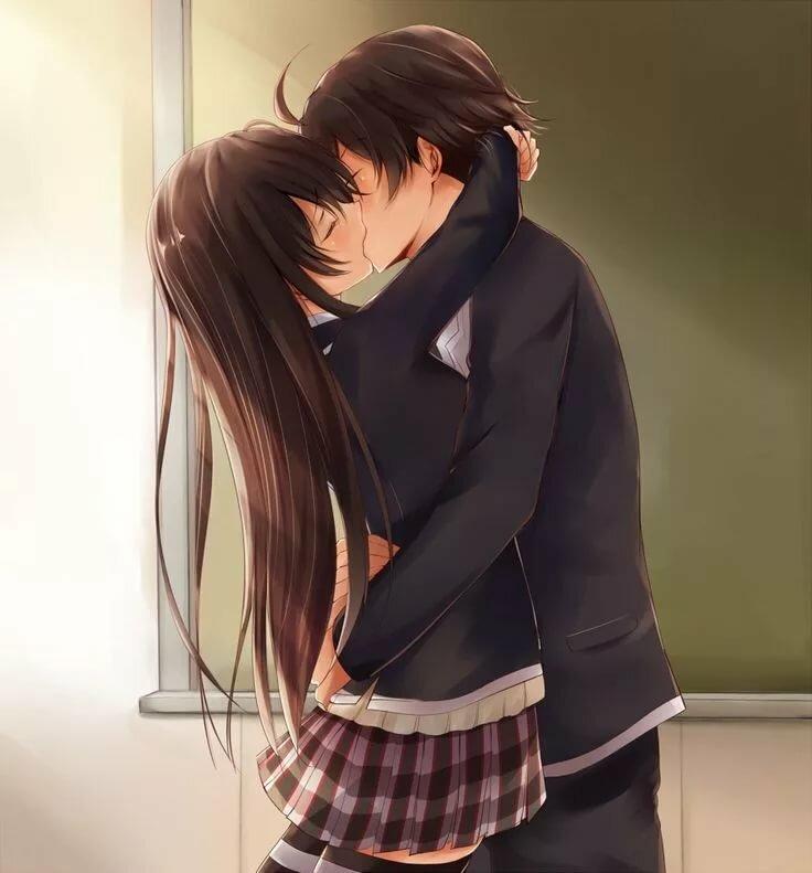 Аниме картинки где целуются