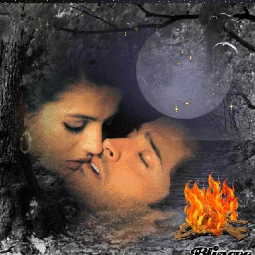 Открытка поцелуев любимой на ночь