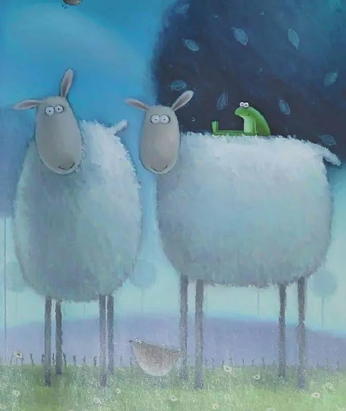 Красивые открытки, смешные овечки в рисунках