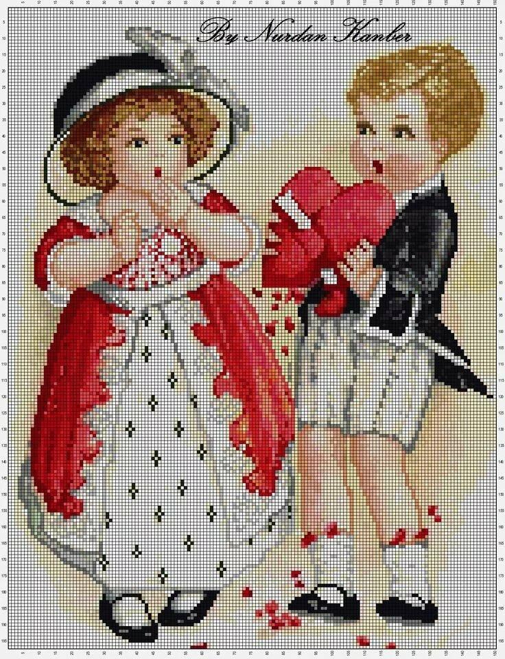 Схемы ретро открыток для вышивки, год открытка